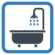 Shower Bath Flat Vector Icon - stock illustration