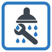 Shower Plumbing Flat Vector Icon - stock illustration