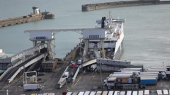 Dover England vehicles exit ferry boat at port 4K Stock Footage