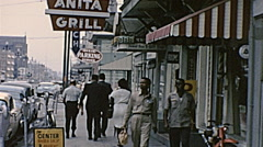 New Orleans 1965: people walking in the street Stock Footage