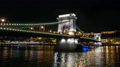 Budapest. Chain bridge at night. Stock Footage