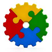 Multi colored gear consisting of puzzle parts Stock Illustration
