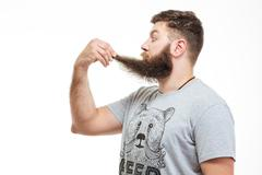 Shocked wondered bearded man holding his beard - stock photo