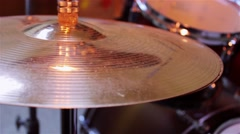 Hands play on the Hi-hat cymbals Stock Footage