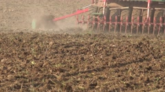 Complex sower seeder equipment cultivate sow crops in fertile soil. Closeup. Stock Footage