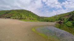 Lake on Arambol beach in Goa, India - stock footage