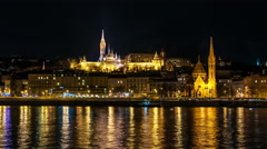 Budapest. Danube river. Fisherman's bastion is in the background Stock Footage