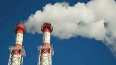 Smoke from Factory chimneys - stock footage