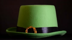 Placing cute, funny quote on shamrock on to green St Patricks Day leprechaun  Stock Footage