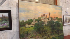 Art gallery in Russia Stock Footage