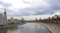 View of the Moscow River from the bridge. Cathedral of Christ. Moscow.  Stock Footage