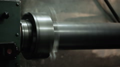 Master turns on industrial lathe works. Stock Footage