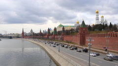 4k Kremlin wall and river in Moscow city at day time from bridge Stock Footage