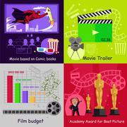 Cinema Set Banners Film Movie Design - stock illustration