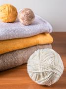 Yarn on background of knitwear Stock Photos