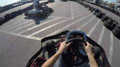 Tree drivers drive go kart, Karting filmed from the driver's view Stock Footage