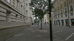 Belvedere Road with trees and cars in London Stock Footage