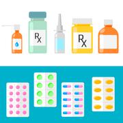 Pharmaceutical products. Pills, capsules and bottles - stock illustration