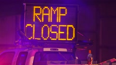 Ramp Closed Sign Blocking Traffic At Night Stock Footage