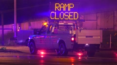 Truck With Ramp Closed Sign Blocking Traffic After An Accident - stock footage