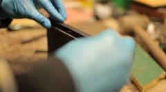Gluing on wood Stock Footage
