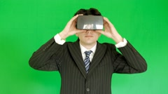 Men in suits using 3D VR glasses Stock Footage