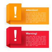 Attention and Warning Banners - stock illustration