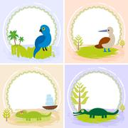 Crocodile, alligator, iguana, parrot bird, booby, set of cards design  with f Stock Illustration