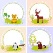 deer, bird penguin, jaguar, leopard,, set of cards design  with funny animals - stock illustration
