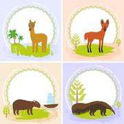 Lama, Maned wolf, ant-eater, Capybara, set of cards design  with funny animal Stock Illustration