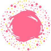 polka dot round frame with grunge stained, pink background for your text. Vector - stock illustration