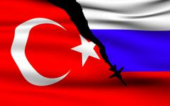 Turkish and Russian Flags Stock Illustration