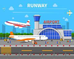 Airport Runway Illustration Stock Illustration
