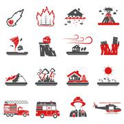 Natural Disaster Red Black Icons Collection Stock Illustration