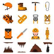 Speleology Flat Icons Set Piirros