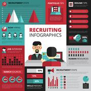 Job Search Strategy Flat Infographic Banner - stock illustration