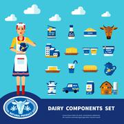 Dairy Components Set - stock illustration