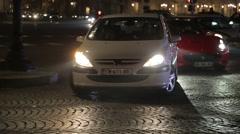 Night Traffic in Paris, France Stock Footage
