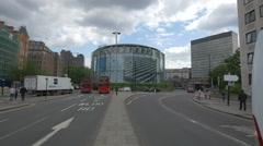 BFI IMAX theatre seen from Waterloo Bridge street in London - stock footage