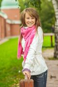Girl with pink scarf Stock Photos