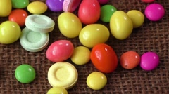 Many different color candies Stock Footage