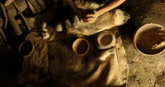 Preparing clay to make pottery Stock Footage