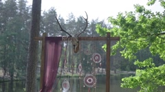Wedding altar with a stuffed deer - stock footage