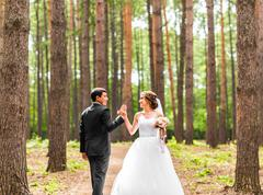 Bride and groom dancing  in nature. Wedding dance outdoors Stock Photos