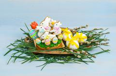 Easter cookies white bunny and decorative eggs Stock Photos
