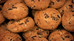 Chocolate Chip Cookies Rotating Closeup Stock Footage