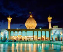 SHIRAZ, IRAN - March 01, 2016: Shah Cheragh mosque after sunset. Shiraz, Iran Stock Photos