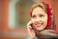 Stock Photo of beautiful woman talking on cell phone
