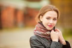 Beautiful girl in autumn Stock Photos