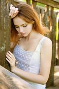 sad young girl - stock photo